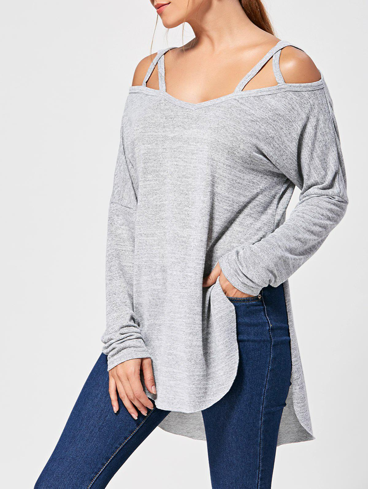 Long Sleeve Lattice High Low Top - GRAY L