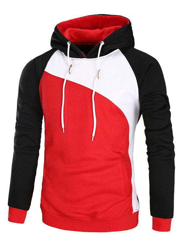Sweat à Capuche Color Block en Laine Manches Raglan - Rouge M