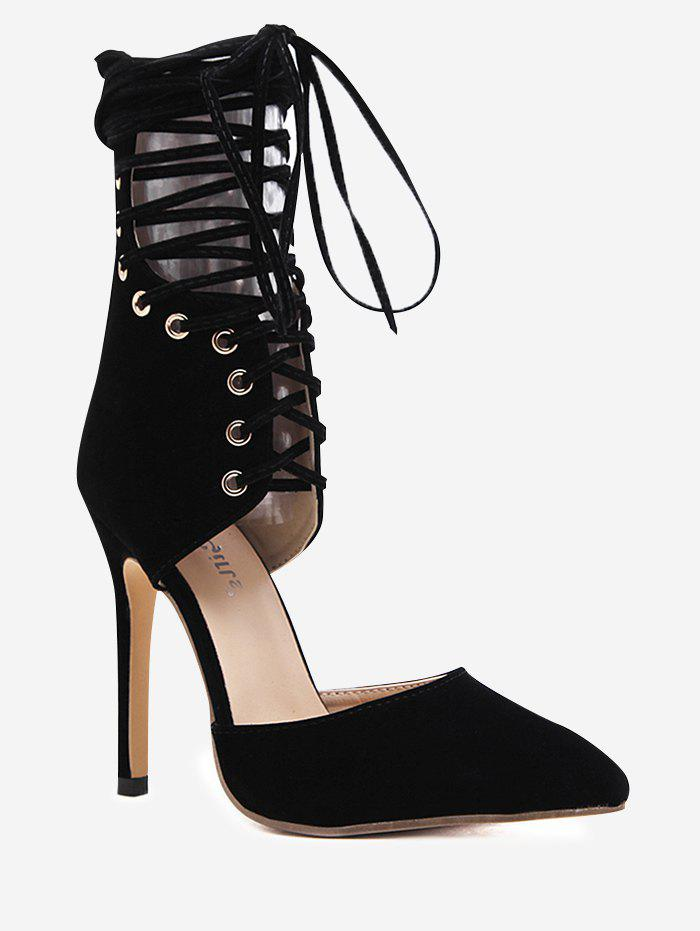 Lace Up Zipper Stiletto HeelPumps - BLACK 39