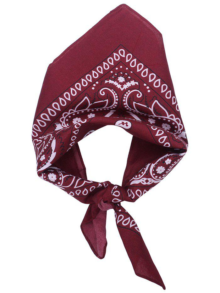 Paisley Printed Square Scarf - WINE RED
