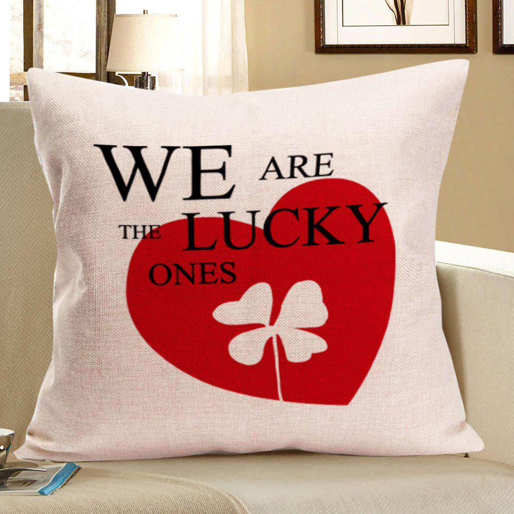 Four-Leaf Clover Heart Pattern Linen Pillow Case - RED W18 INCH * L18 INCH
