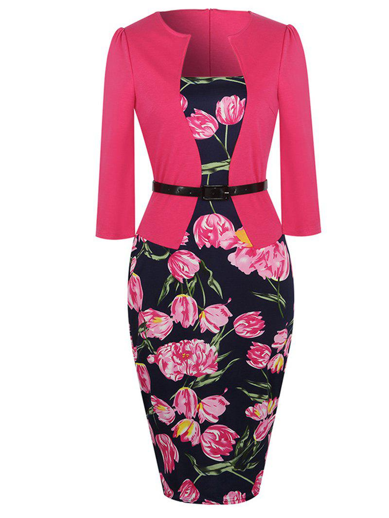 Floral Print Bodycon Belted Dress цена 2017