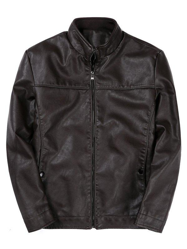 Padded Zip Up PU Leather Jacket - COFFEE M