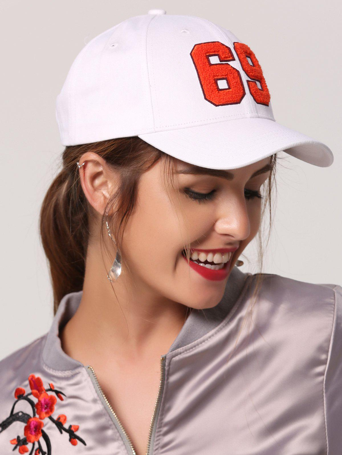 Number Embellished Baseball Hat, White
