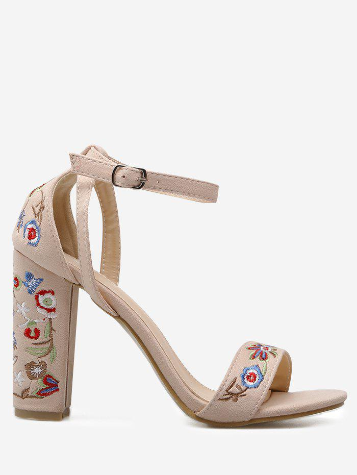 Ankle Strap Block Heel Embroidered Sandals - APRICOT 38