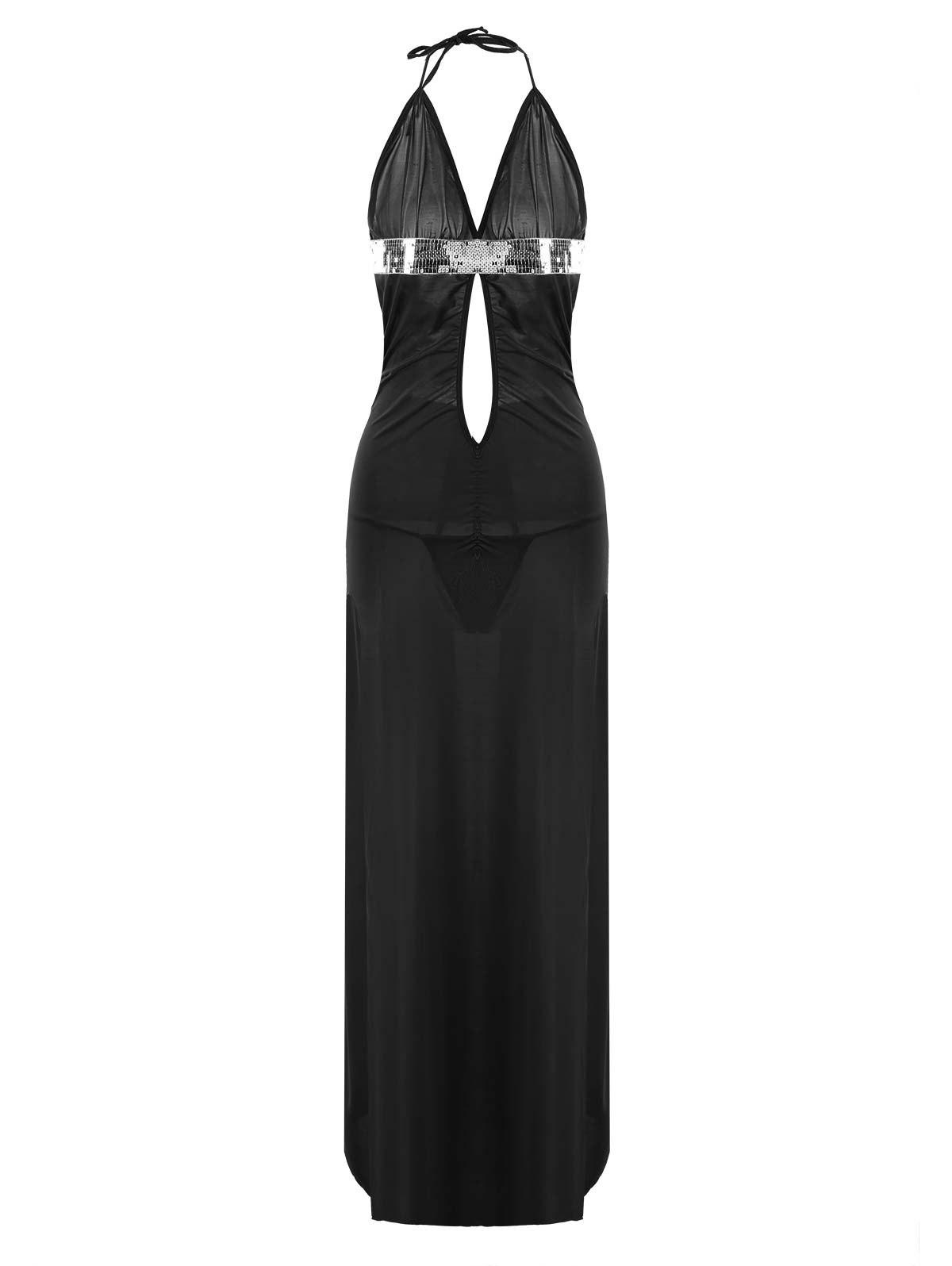 Maxi High Slit Plunge Lingerie Dress - Noir L