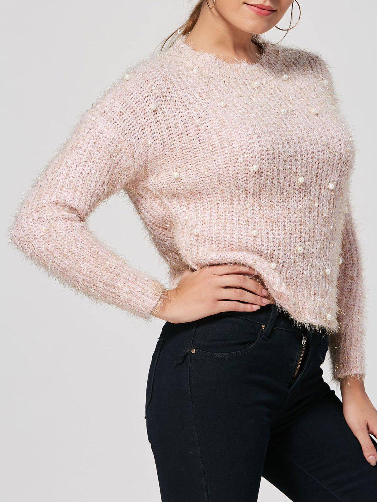 2018 Faux Pearl Embellished Knit Fuzzy Sweater LIGHT PINK ONE SIZE ...