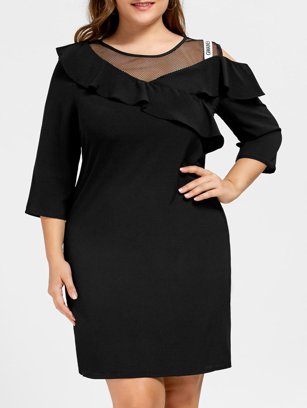 Plus Size Mesh Insert Flounce Dress plus size embroidered mesh insert party dress