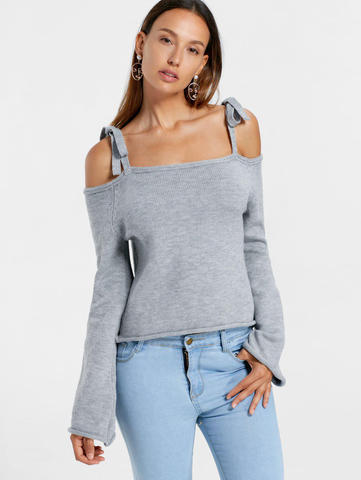 Cut Out Tie Shoulder Sweater - GRAY M