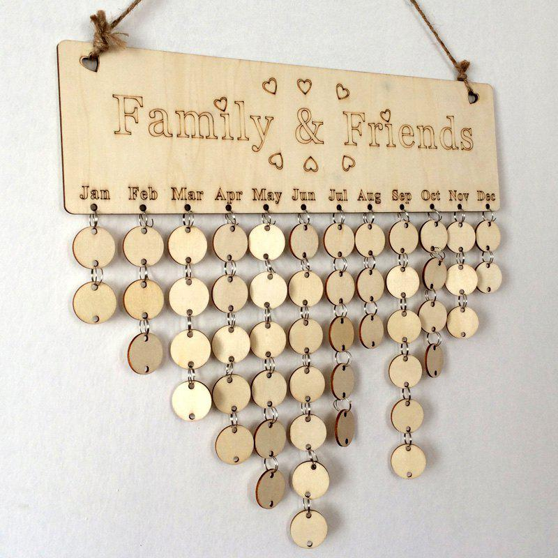 Diy wooden family and friends birthday calendar round