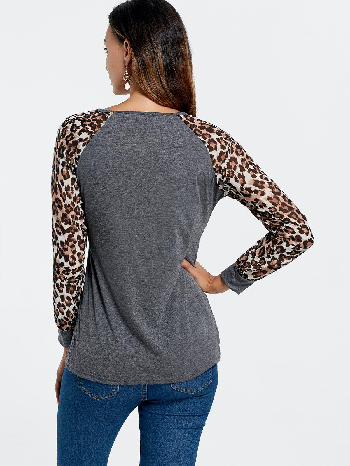 Trendy Leopard Print Long Sleeve Baseball T-Shirt For Women - DEEP GRAY S