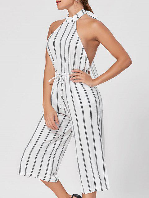 a1a5316b828 LIMITED OFFER  2019 Backless Striped Wide Leg Capri Jumpsuit In ...