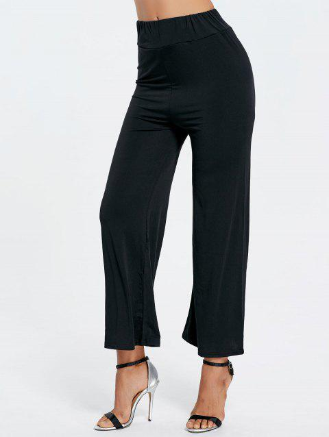 High Waisted Wide Leg Ninth Pants - BLACK L