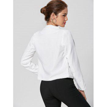 Collarless Cropped Blazer - WHITE XL