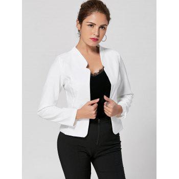 Collarless Cropped Blazer - WHITE S