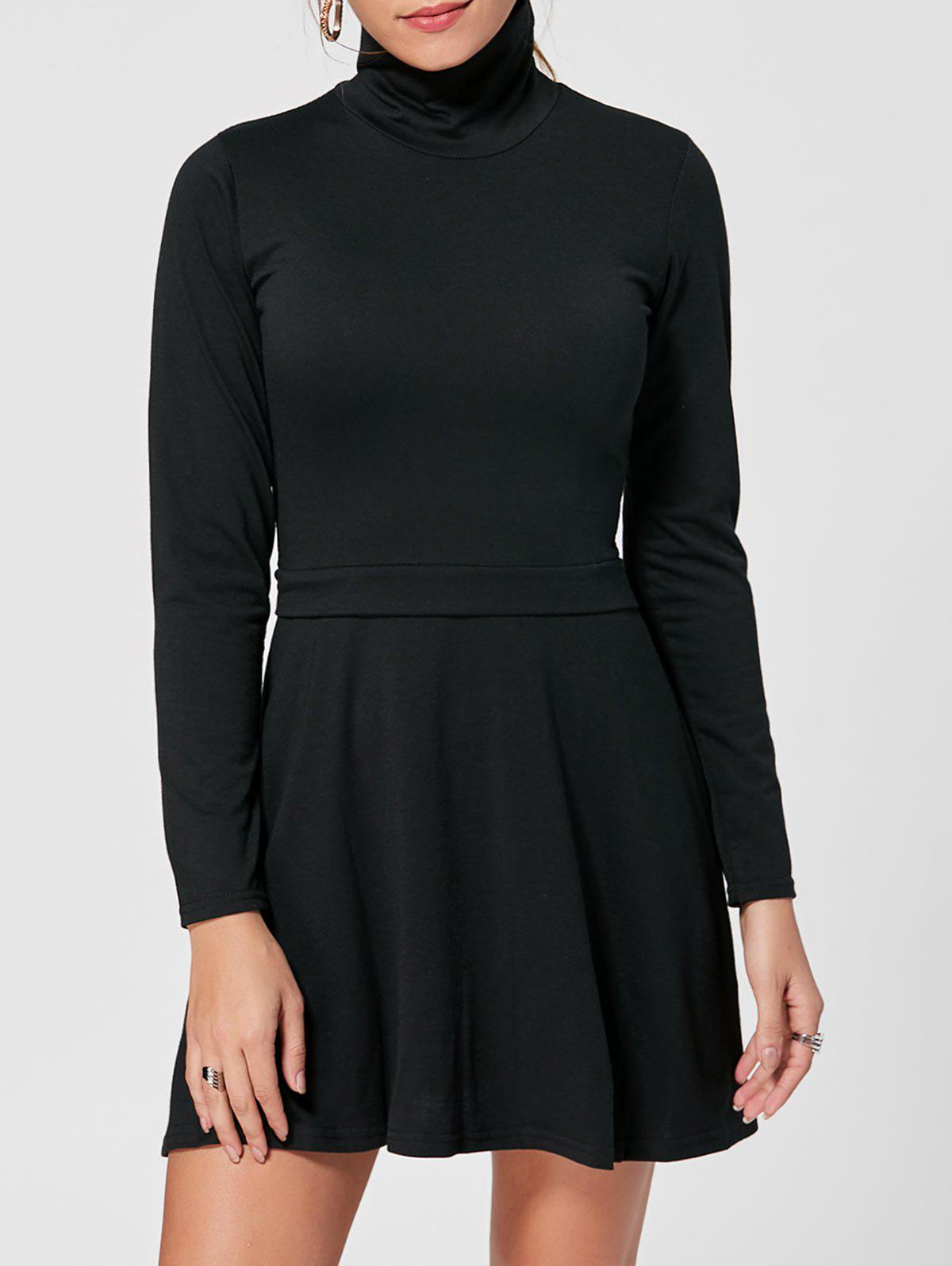 High Neck Long Sleeve Mini A Line Dress - BLACK S