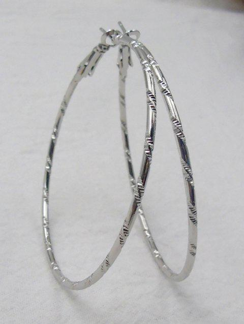 Bamboo Big Hoop Earrings - SILVER