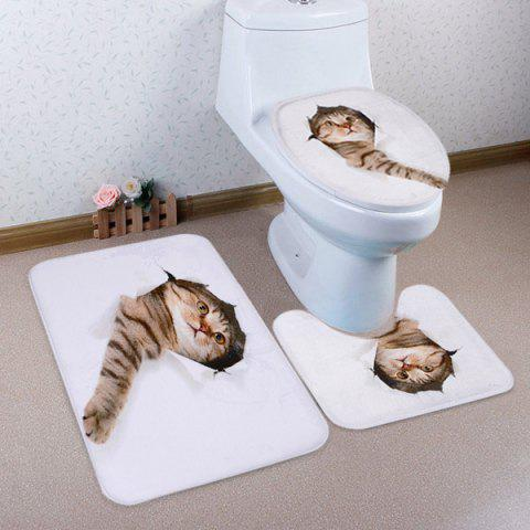 3D Broken Paper Cat Pattern 3 Pcs Bathroom Toilet Mat - WHITE
