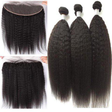 3Pcs / Lot 5A Remy Free Part Long Kinky Straight Indian Human Hair Weaves - Noir Naturel 16INCH*18INCH*20INCH