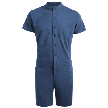 Single Breasted Short Sleeve Romper - DEEP BLUE DEEP BLUE