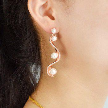Faux Pearl Rhinestone Statement Drop Earrings