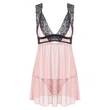 Plunge Mesh Sheer Lingerie Babydoll - COMPLEXION COMPLEXION