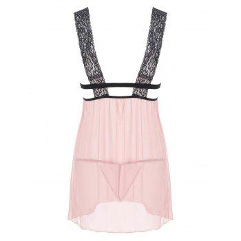 Plunge Mesh Sheer Lingerie Babydoll - COMPLEXION XL