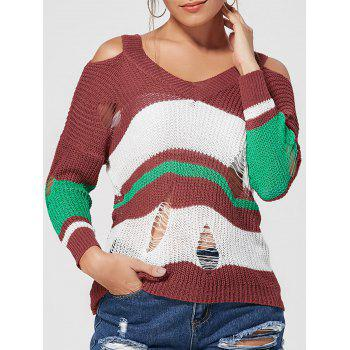 Color Block Distressed Knit Top