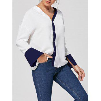 Two Tone V Neck Button Up Blouse