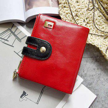 Color Block PU Leather Bifold Wallets -  RED