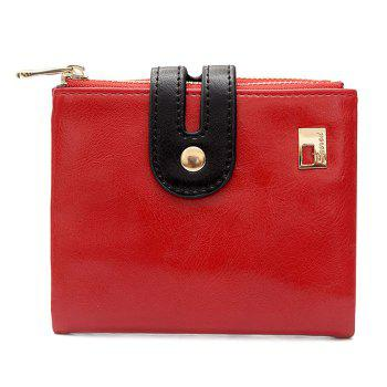 Color Block PU Leather Bifold Wallets - RED RED