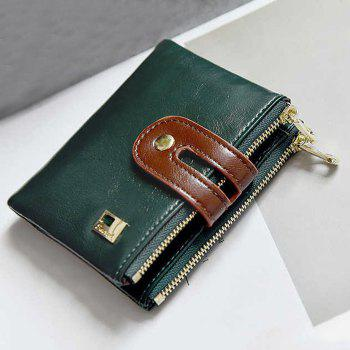Color Block PU Leather Bifold Wallets - GREEN