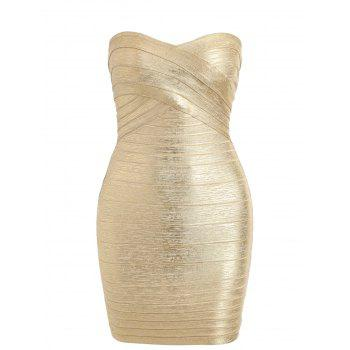 Metallic Bandeau Bandage Dress
