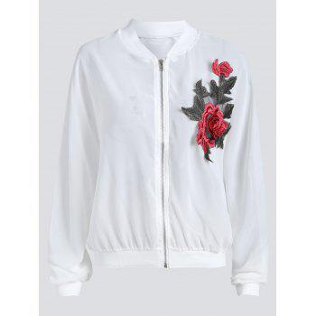 Sun Protect Sheer Plus Size Embroidered Bomber Jacket