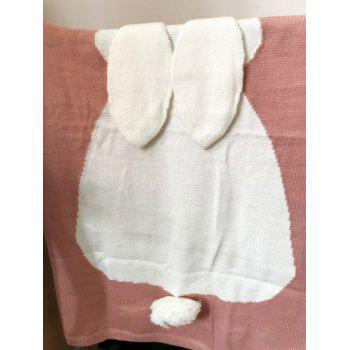 Knit Acrylic Rabbit Baby Blanket -  LIGHT PINK