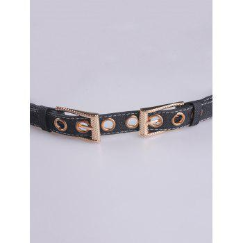Metal Hole Double Pin Buckle Waist Belt - BLACK