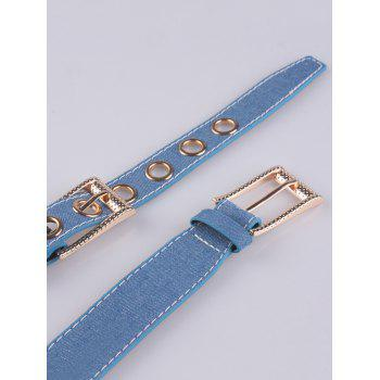Metal Hole Double Pin Buckle Waist Belt -  DENIM BLUE