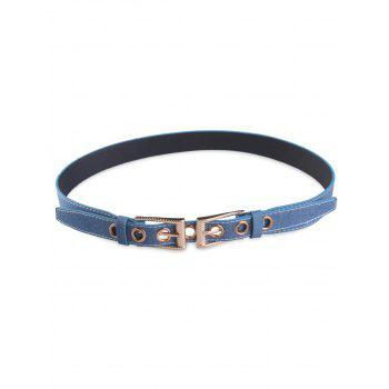 Metal Hole Double Pin Buckle Waist Belt - DENIM BLUE DENIM BLUE