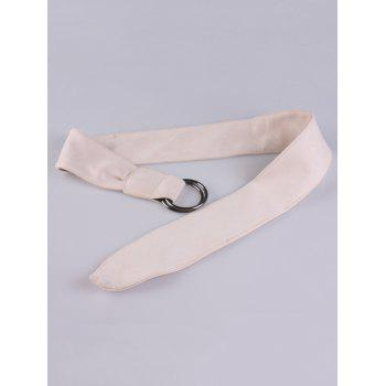 Metallic Double Round Buckle Artificial Suede Belt - WHITE
