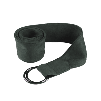 Metallic Double Round Buckle Artificial Suede Belt -  BLACKISH GREEN