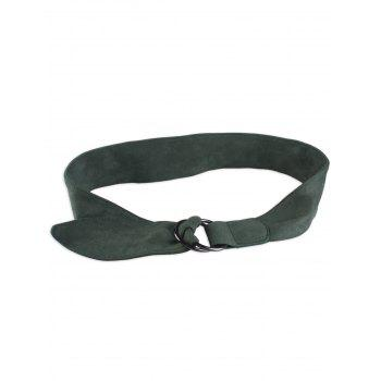 Metallic Double Round Buckle Artificial Suede Belt - BLACKISH GREEN BLACKISH GREEN