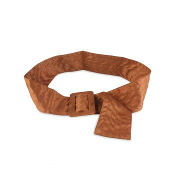 Rectangle Buckle Wide Faux Suede Waist Belt - BROWN BROWN
