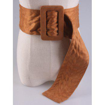 Rectangle Buckle Wide Faux Suede Waist Belt -  BROWN
