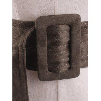 Rectangle Buckle Wide Faux Suede Waist Belt -  OLIVE GREEN