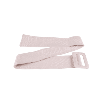 Rectangle Buckle Wide Faux Suede Waist Belt -  OFF WHITE