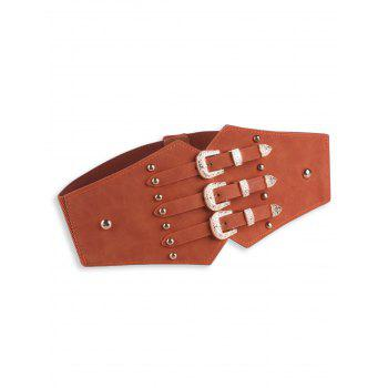 Vintage Metal Buckles Rivet Wide Corset Belt - BROWN BROWN
