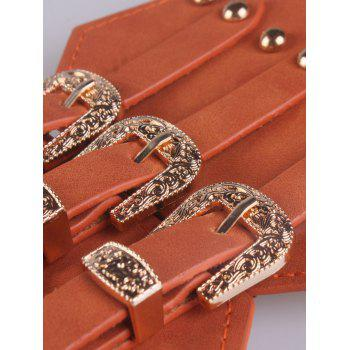 Vintage Metal Buckles Rivet Wide Corset Belt - BROWN
