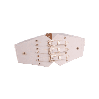 Vintage Metal Buckles Rivet Wide Corset Belt - OFF WHITE