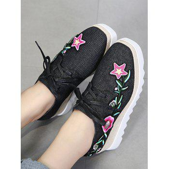 Denim Embroidered Wedge Shoes - BLACK 37