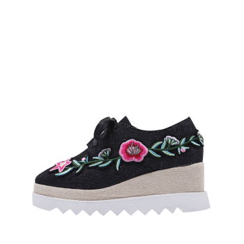 Denim Embroidered Wedge Shoes - 38 38